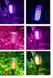Solar Flame Torch Upgraded 7 Colour Changing Landscaping Light Outdoor Garden Solar Powered 96 Led Multicolour Flame Flicker Candle Light for Lawn Pathway