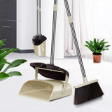 "Broom and Dustpan Set- 50"" Heavy Duty Long Handle Broom and Dust Pan, Standing Upright Grips Sweep Set"