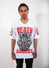 "Load image into Gallery viewer, Mishka MNWKA ""Lamour Supreme: Death Adders"" Football Jersey Tee (Kanji)"