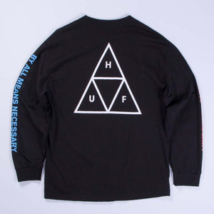 "HUF - TRIPLE TRIANGLE ""BY ALL MEANS NECESSARY"" - Long Sleeve Tee."