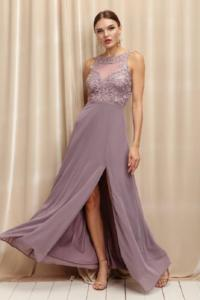 Embroidered Lace Gown With Front Slit