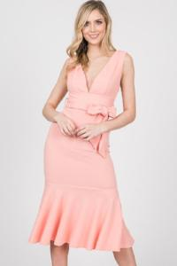 Bow Tie Side V-Neck Cocktail Dress