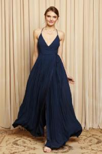 Navy Back Detail Wrap Front Pleat Gown
