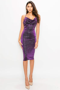 Sparkly Low Scoop Midi Dress