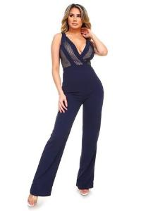 Navy Mesh Crossover Wide Leg Jumpsuit
