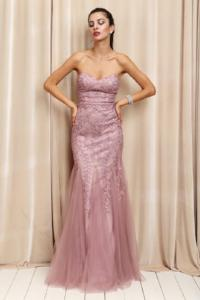 Strapless Tulle Gown With Embroidered Detail Gown
