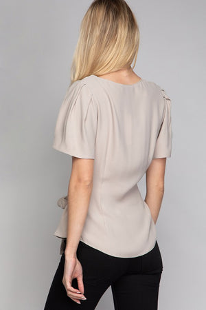 Surplice Cap Sleeve Blouse W/. Tie