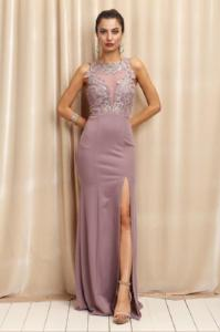 Fitted Embroidered Lace Gown With Front Slit And Lace Back