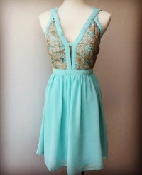 Mint & Gold Cross Strap Dress
