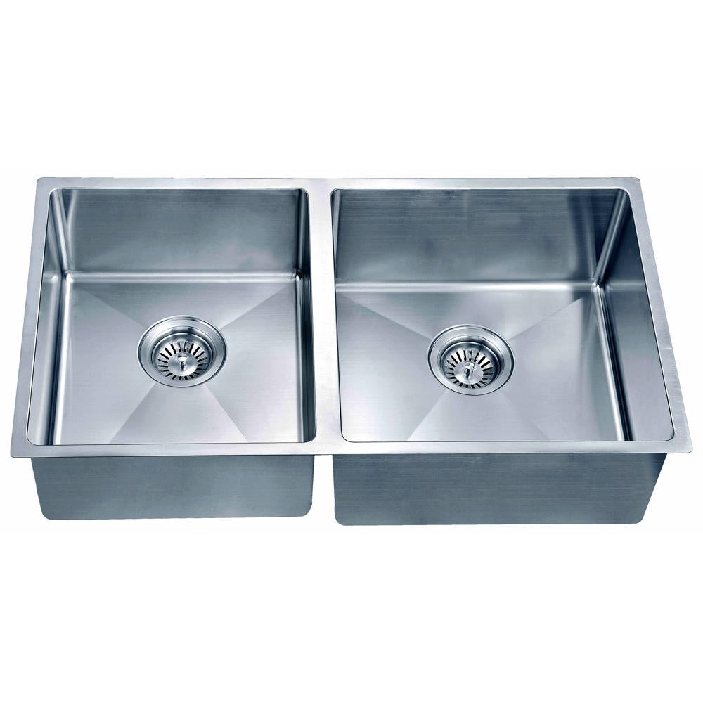Small Corner Radius Double Bowl Sink (Small Bowl on Left)