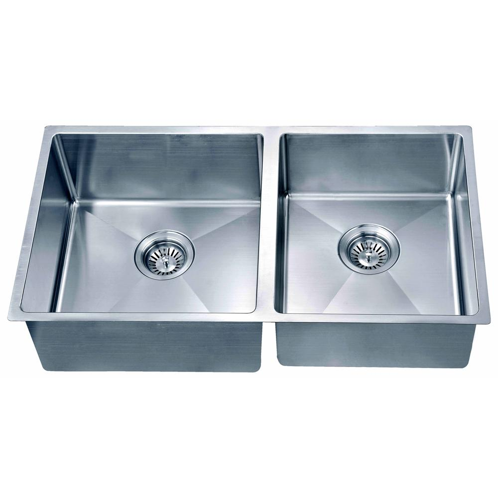 Small Corner Radius Double Bowl Sink (Small Bowl on Right)
