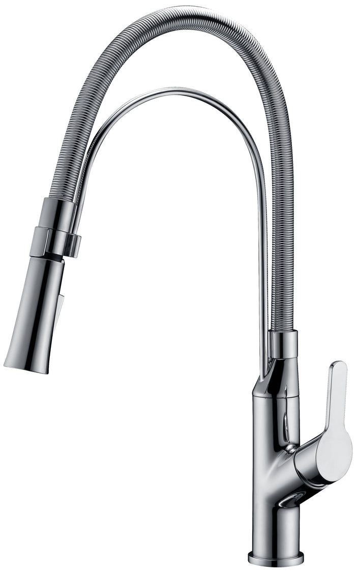 Single-lever pull-out spray sink mixer