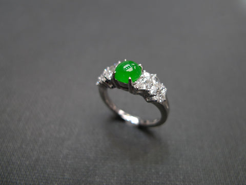 modern design jade and marquise diamond ring