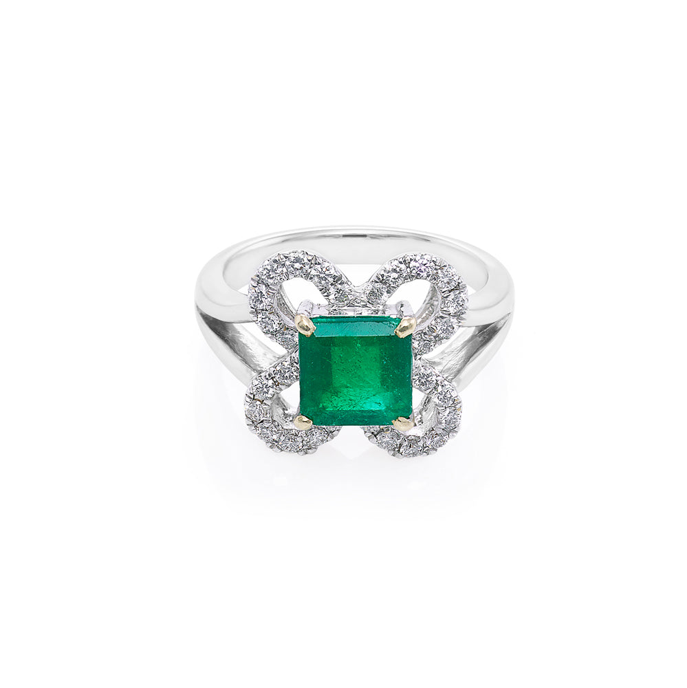 Emerald and Diamond Ring in 18K White Gold - HN JEWELRY