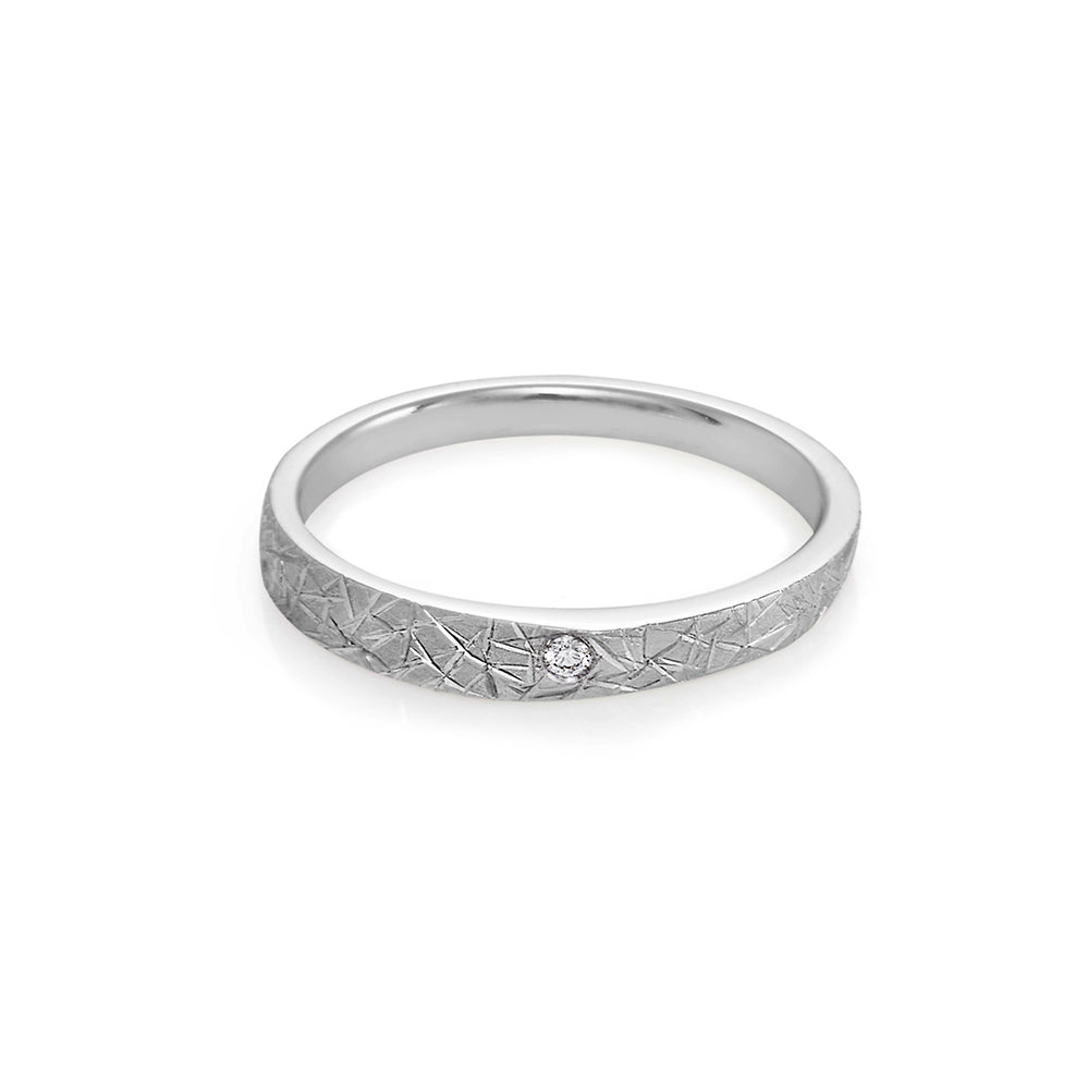 Hand Carved Diamond Wedding Ring