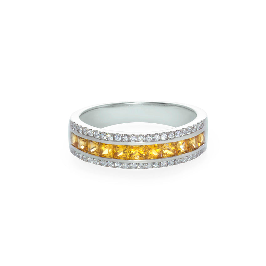 Yellow Sapphire and Diamond Three Row Ring in 18K White Gold