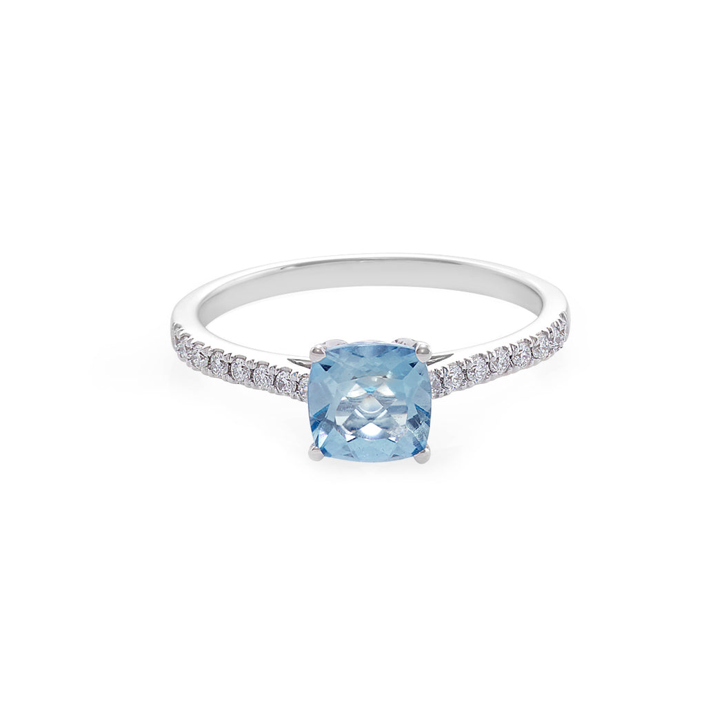 Aquamarine & Diamond Engagement Ring in 18K White Gold - HN JEWELRY