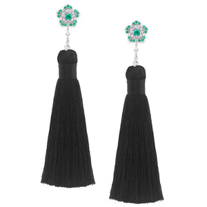 3-in-1 Emerald & Diamond Tassel Dangle Earrings in 18K White Gold - HN JEWELRY