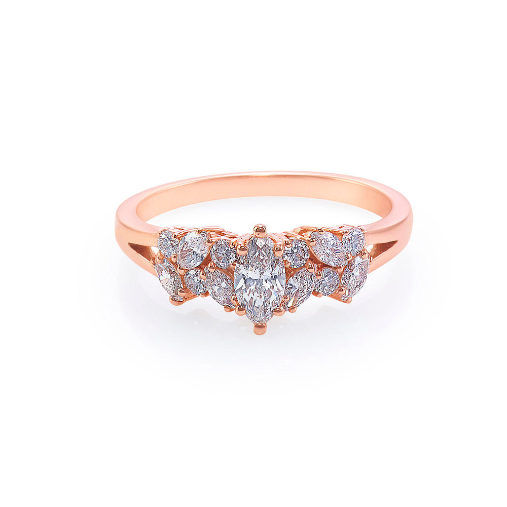 Marquise Diamond and Round Diamond Ring
