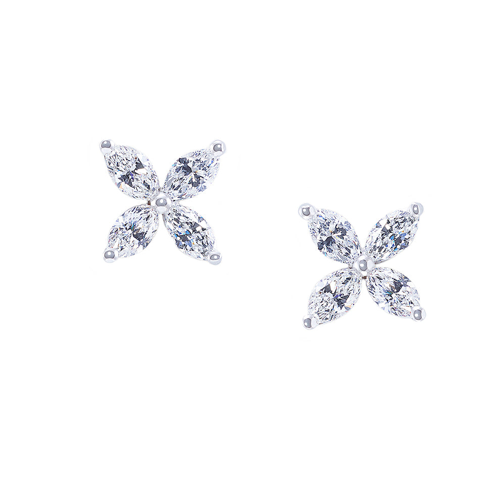 Marquise Diamond Earrings in 18K White Gold - HN JEWELRY