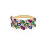 3-Row Marquise Blue Sapphire, Emerald, Ruby and Diamond Ring - HN JEWELRY