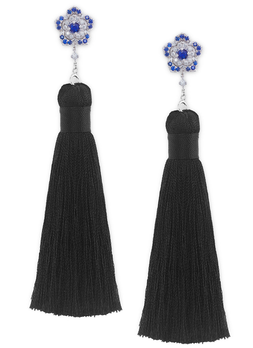 3-in-1 Blue Sapphire & Diamond Tassel Dangle Earrings in 18K White Gold - HN JEWELRY