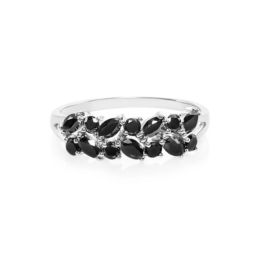 Marquise and Round Cut Black Diamond Ring