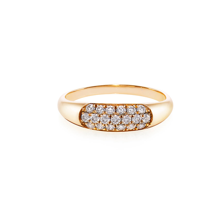 Three Rows Diamond Ring in 18K Yellow Gold - HN JEWELRY