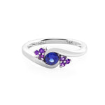 Blue Sapphire and Amethyst Ring