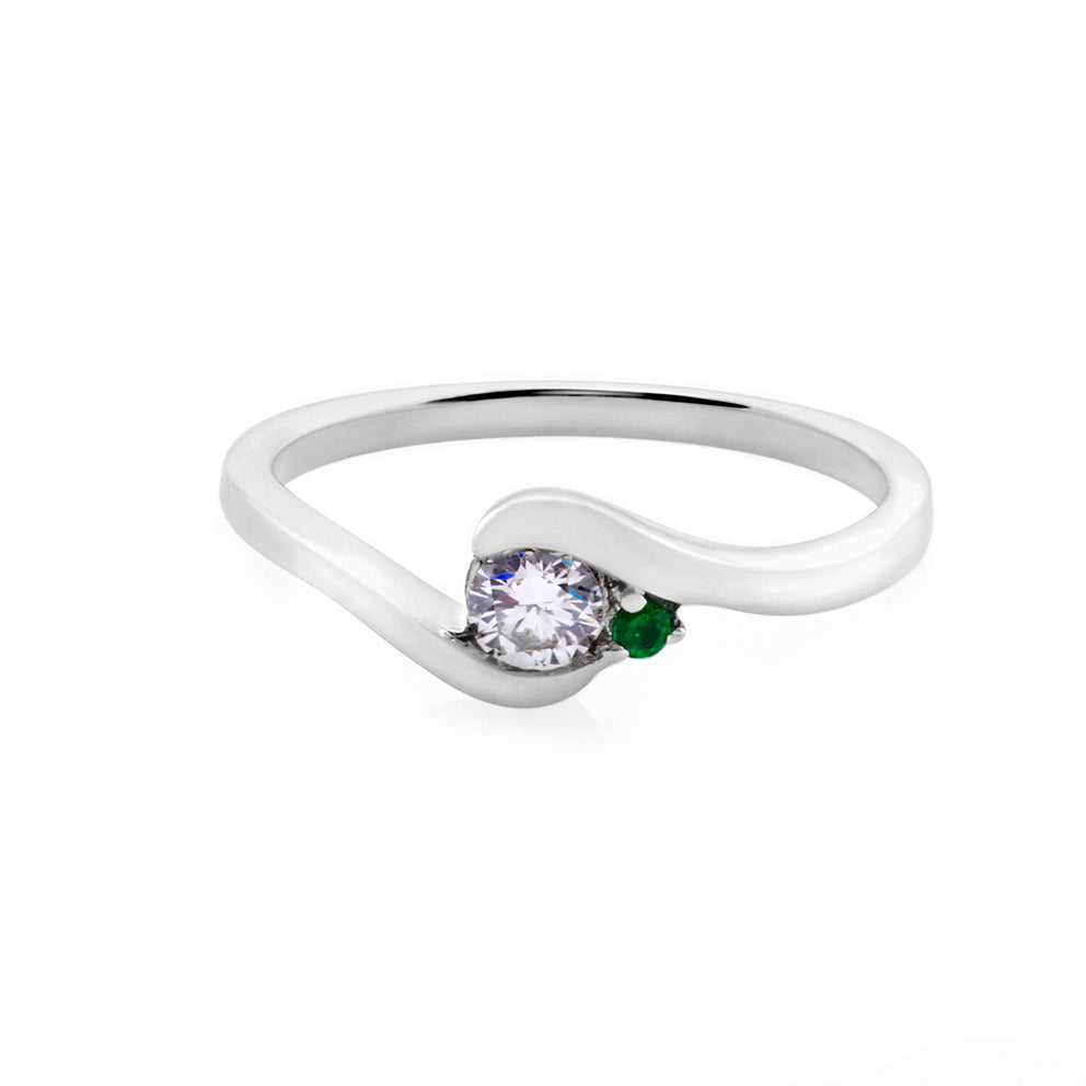 0.25ct Brilliant Cut Diamond and Emerald Engagement Ring in 18K White Gold - HN JEWELRY