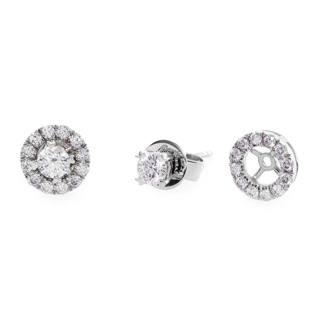 Halo Diamond Stud Earrings in White Gold - HN JEWELRY