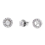 Halo Diamond Stud Earrings in White Gold