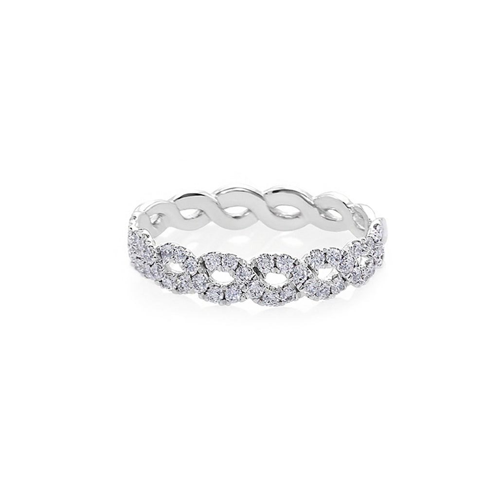 Wave Diamond Ring in White Gold
