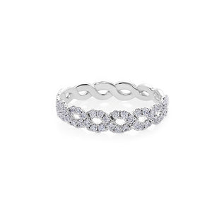 Wave Diamond Ring in 18K White Gold - HN JEWELRY