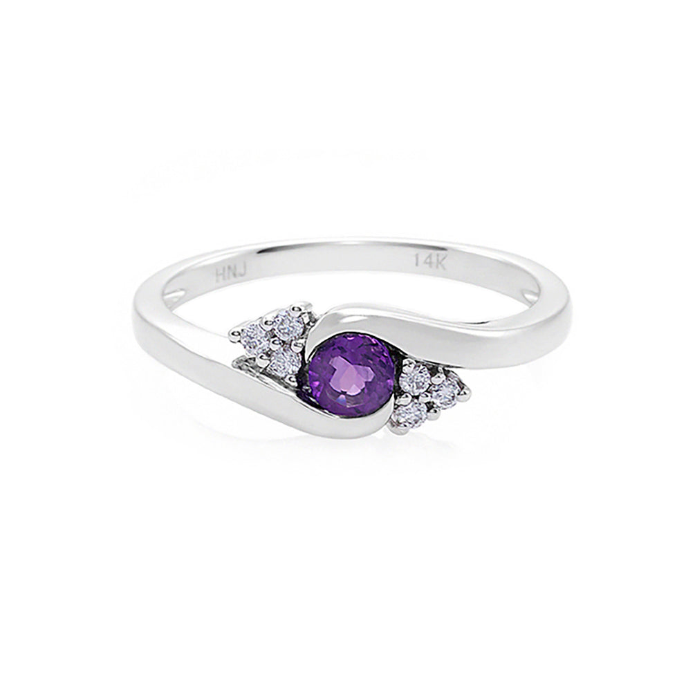 Amethyst & Diamond Twist Ring in White Gold