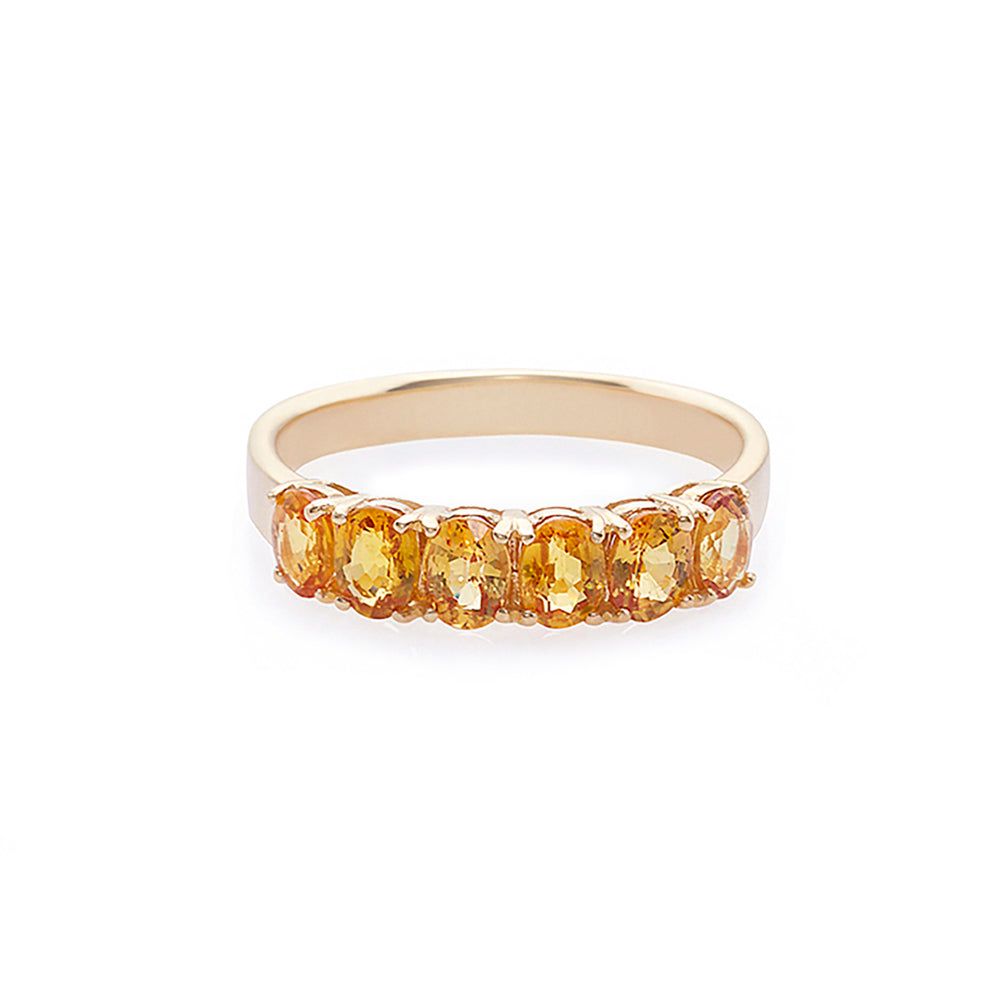Oval Shape Yellow Sapphire Ring in Yellow Gold
