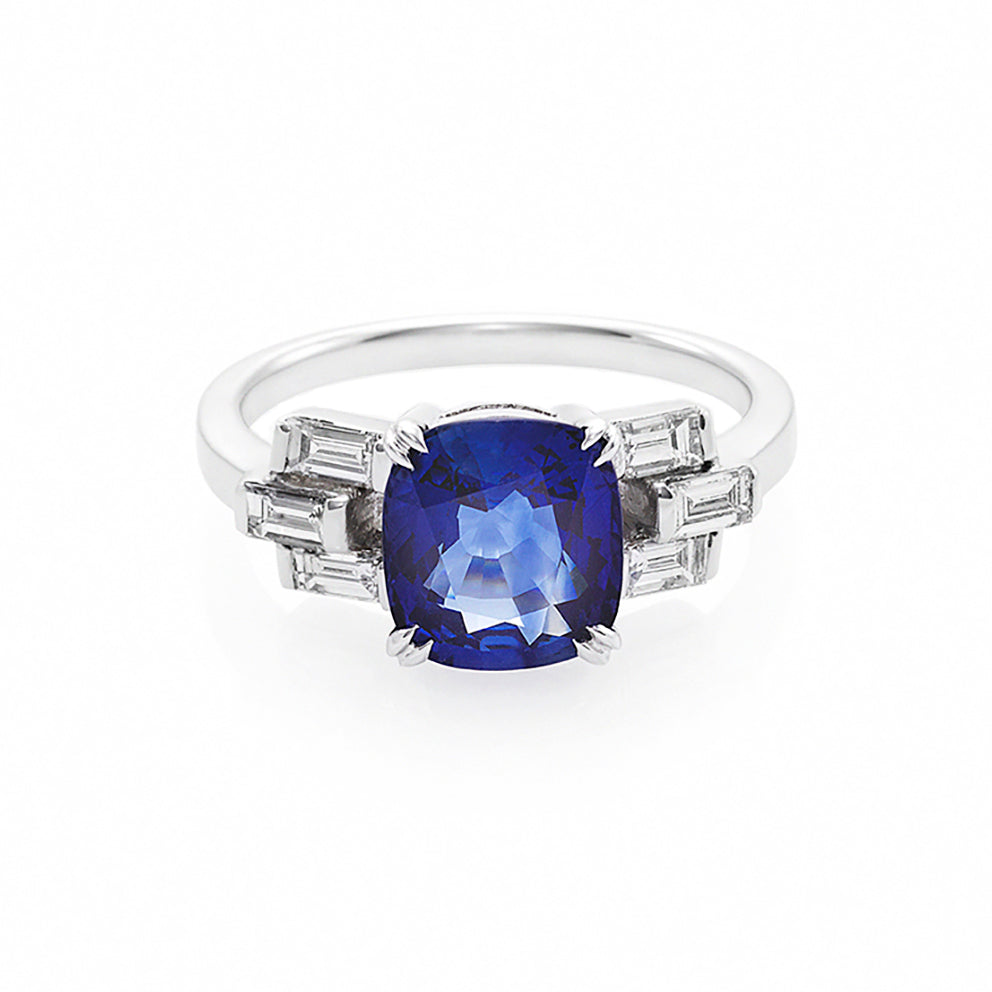 Blue Sapphire and Baguette Diamond Ring