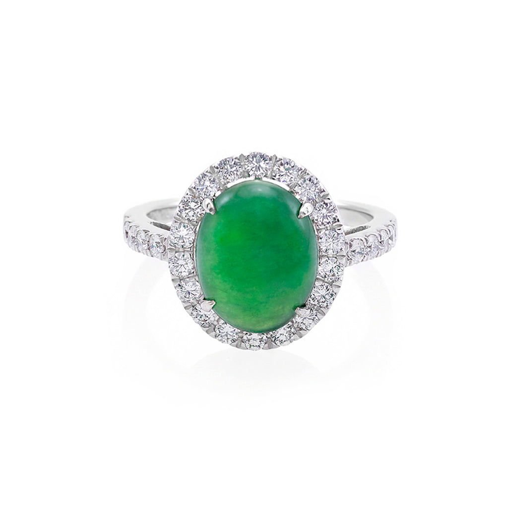 Natural Type A Jade & Diamond Ring in 18K White Gold - HN JEWELRY