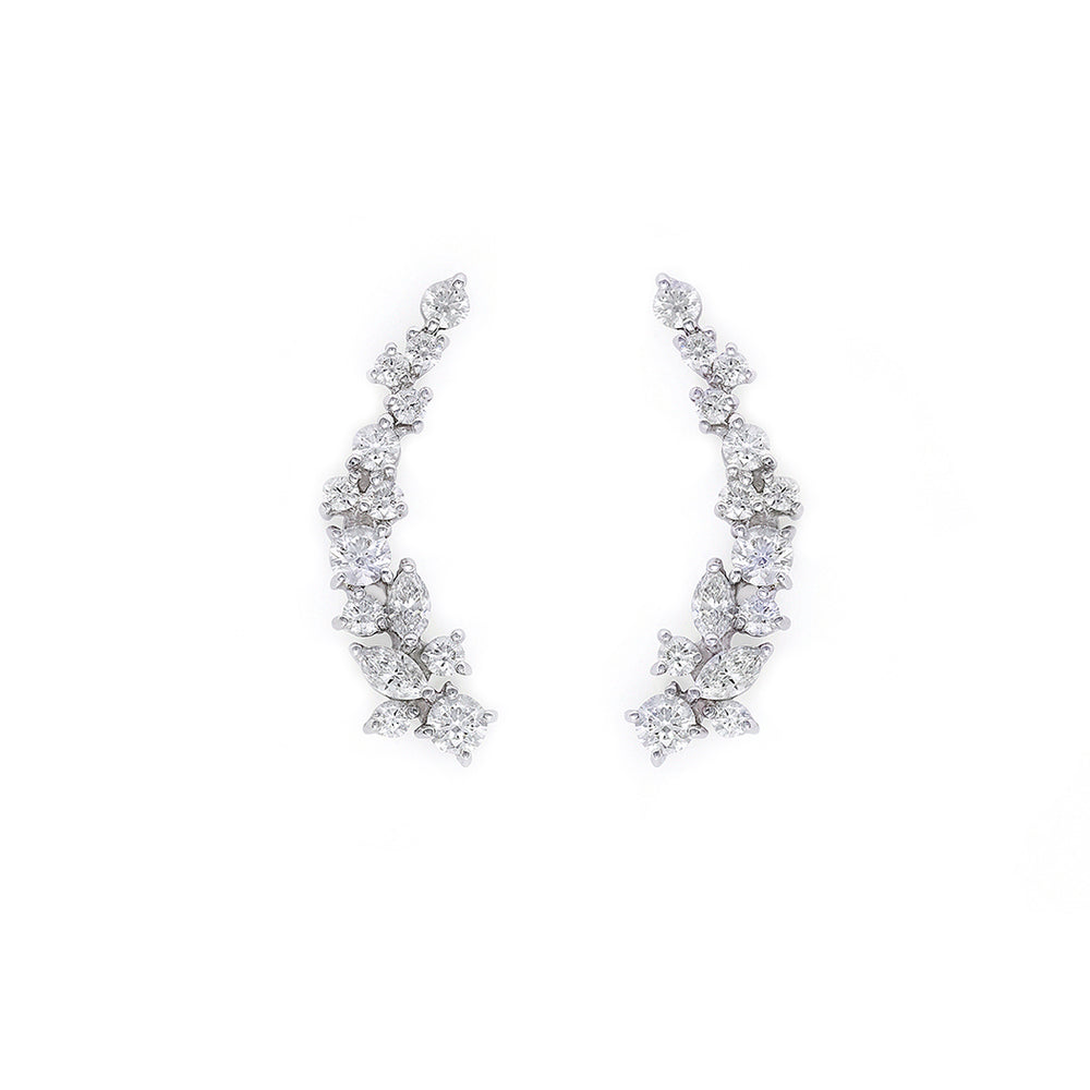 Mixed Shape Marquise Diamond Cluster Earrings in White Gold