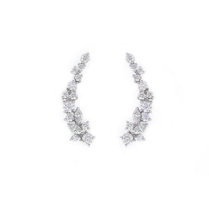 Mixed Shape Marquise Diamond Cluster Earrings in White Gold - HN JEWELRY