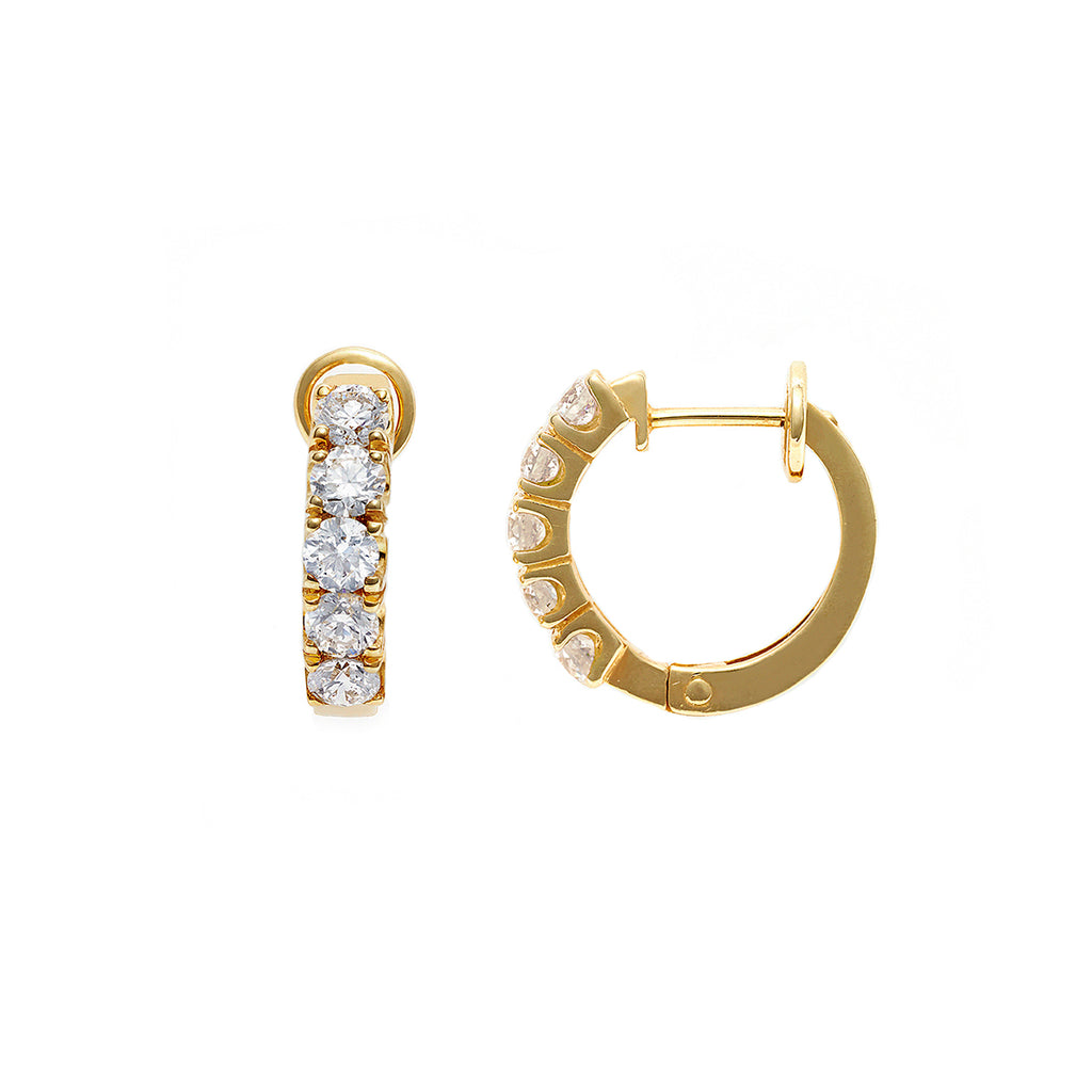 Diamond Hoop Earrings in Yellow Gold - HN JEWELRY
