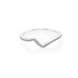 Thin Diamond Ring in 18K White Gold - HN JEWELRY