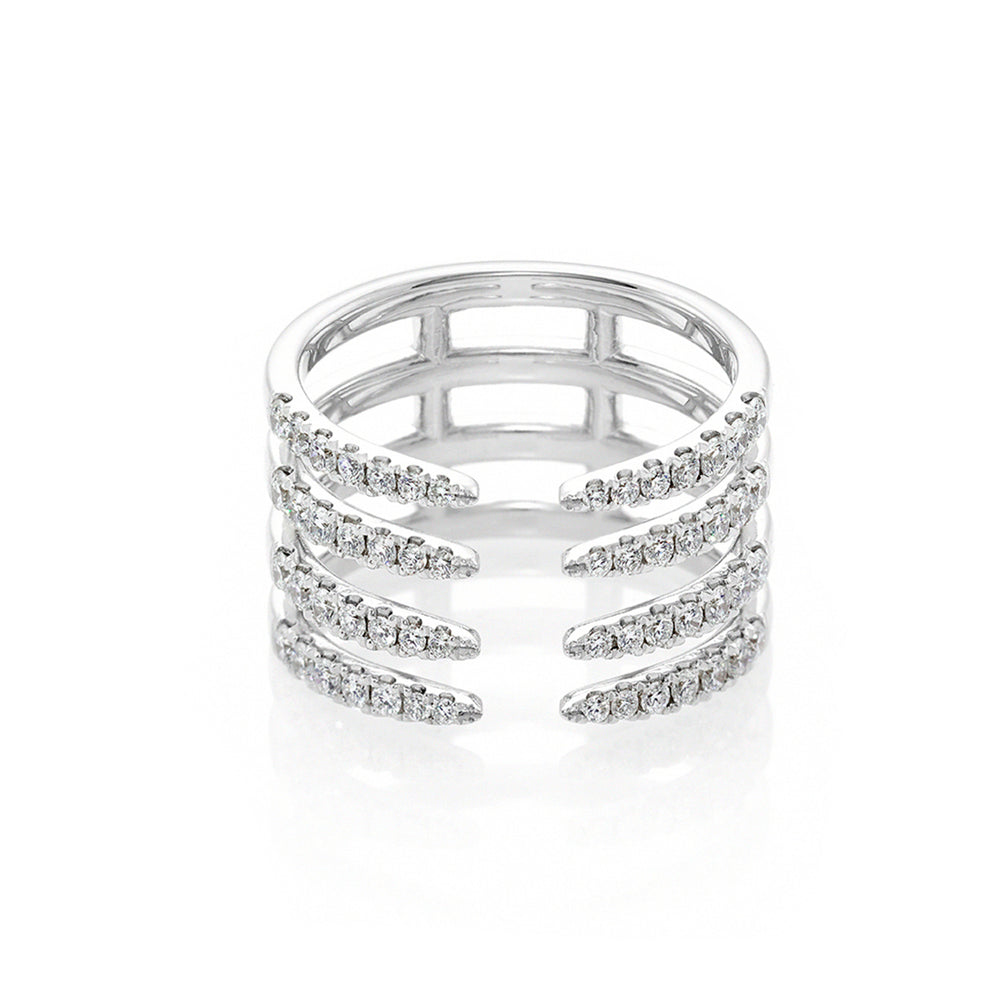 Four Row Diamond Ring in White Gold
