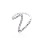 V Shape Diamond Ring in White Gold