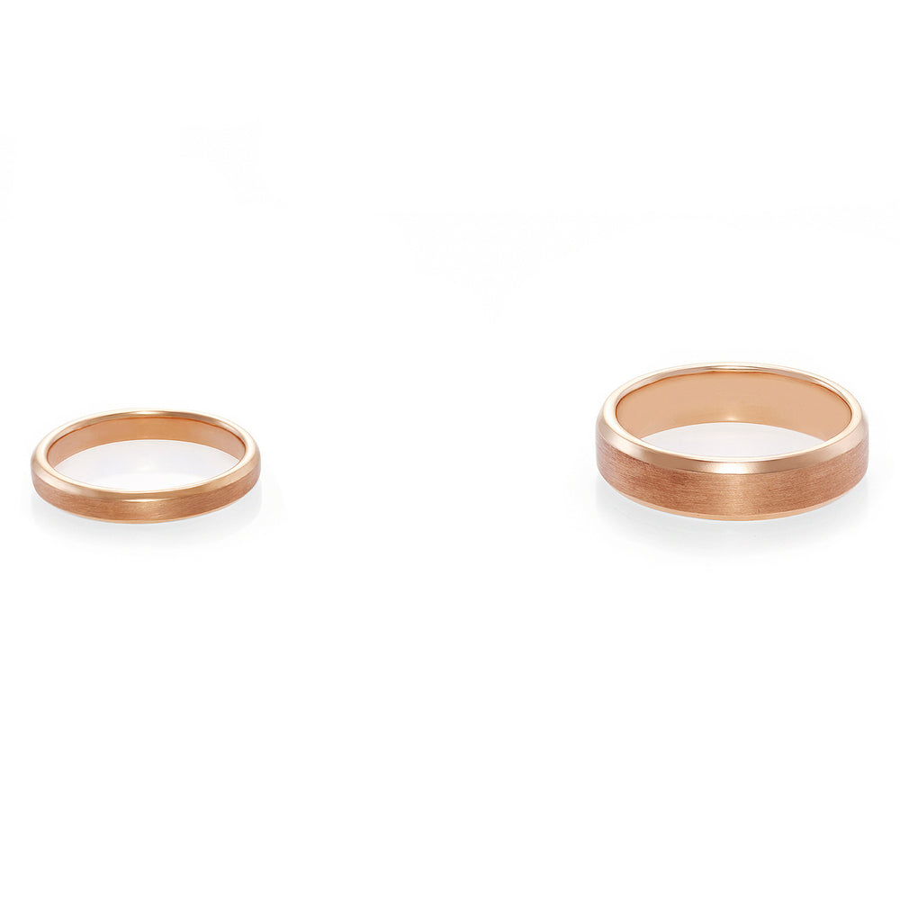Beveled Edge Matte Wedding Couple Rings in Rose Gold