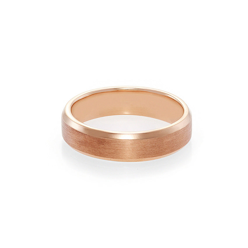 Men's Beveled Edge Matte Finish Ring in Rose Gold