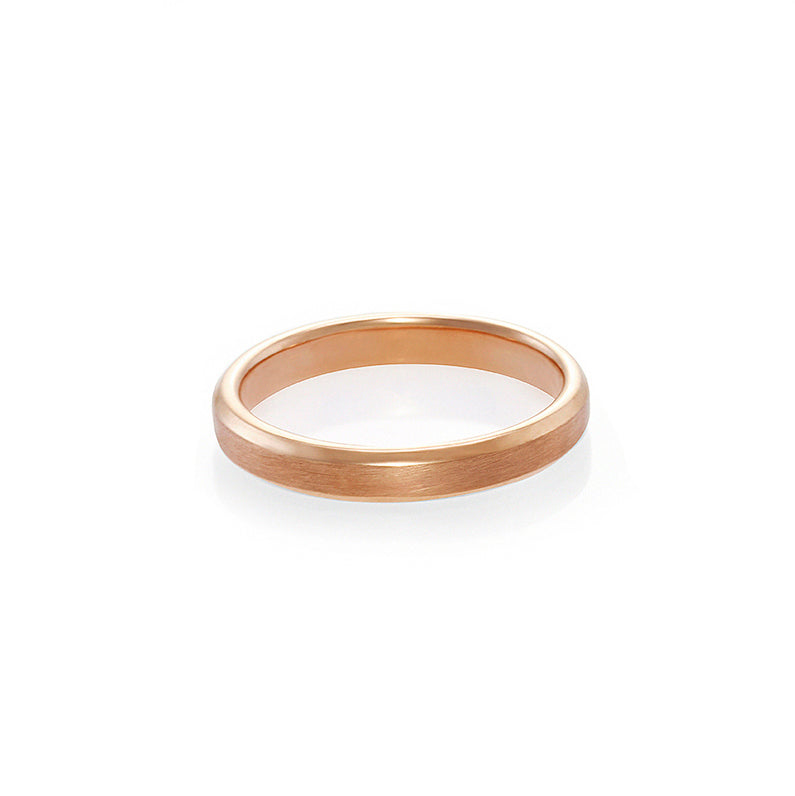 Beveled Edge Matte Finish Wedding Ring in Rose Gold