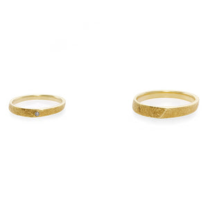Hand Carved Diamond Wedding Couple Rings in Yellow Gold - HN JEWELRY