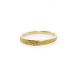 Hand Carved Diamond Wedding Ring in Yellow Gold