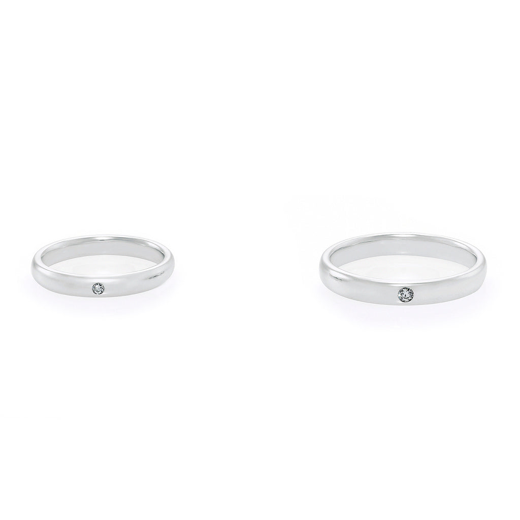 Diamond Wedding Couple Rings in White Gold - HN JEWELRY
